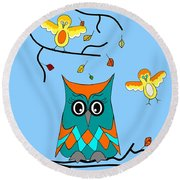 Owl And Birds - Whimsical Round Beach Towel