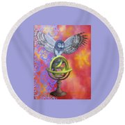 Owl And Star Map Round Beach Towel