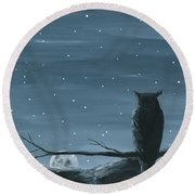 Owl And The Moon Round Beach Towel