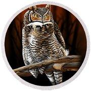 Night Owl Round Beach Towel