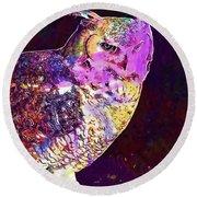 Owl Bird White Raptor  Round Beach Towel