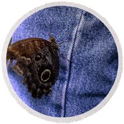 Owl Butterfly On Jeans Round Beach Towel