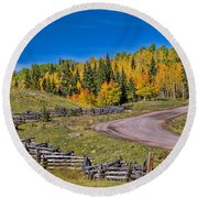 Owl Creek Pass Road Round Beach Towel
