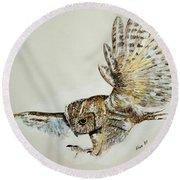 Owl In Flight Round Beach Towel