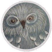 Owl In The Blue Round Beach Towel by Ginny Youngblood