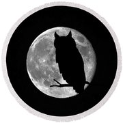 Owl Moon Round Beach Towel