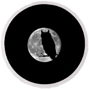 Owl Moon .png Round Beach Towel