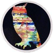 Owl On Black Round Beach Towel