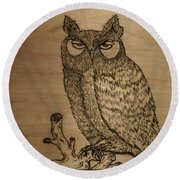 Owl Pyrography Round Beach Towel