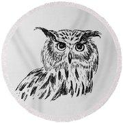 Owl Study 2 Round Beach Towel