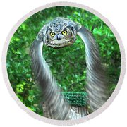 Owll In Flight Round Beach Towel