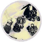 Owls From Blue Yonder Round Beach Towel