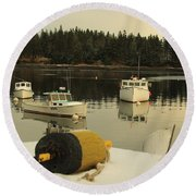 Owls Head Boats In The Snow Round Beach Towel