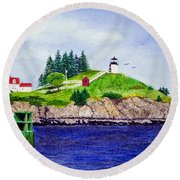 Owls Head Lighthouse Round Beach Towel