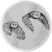 Owls In Flight Round Beach Towel