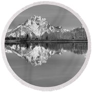 Oxbow Bend Morning Black And White Round Beach Towel
