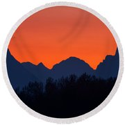 Oxbow Bend Sunset Round Beach Towel