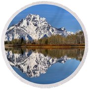 Oxbow Snake River Reflections Round Beach Towel