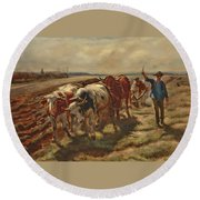 Oxen Plowing Round Beach Towel