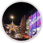 Oxford Street London At Christmas Round Beach Towel