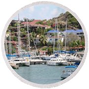 Oyster Bay Marina Round Beach Towel