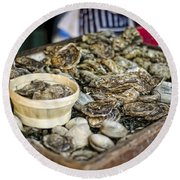 Oysters At The Market Round Beach Towel