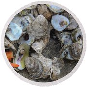 Oysters One Round Beach Towel