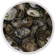 Oysters Two Round Beach Towel