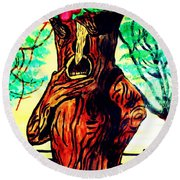 Oz Grumpy Apple Tree Round Beach Towel by Jo-Ann Hayden