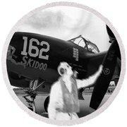 P-38 Ghost Flight Round Beach Towel
