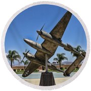 P-38 Memorial March Field Museum Round Beach Towel