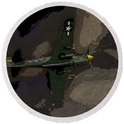 P 40 Warhawk In Action Round Beach Towel