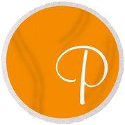 P In White Simple Script Round Beach Towel