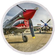 P40 Warhawk And P51d Mustang On The Ramp Round Beach Towel