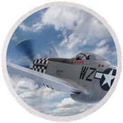 P51 In The Clouds Round Beach Towel