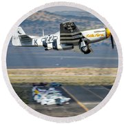 P51 Mustang Little Horse Gear Coming Up Friday At Reno Air Races 16x9 Aspect Signature Edition Round Beach Towel