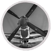 P51 Mustang Vintage Aircraft Round Beach Towel