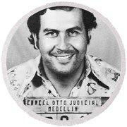 Pablo Escobar Mugshot Round Beach Towel