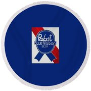 Pabst Blue Ribbon Beer. Round Beach Towel