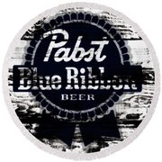Pabst Blue Ribbon Beer Sign Round Beach Towel
