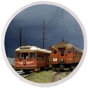 Pacific Electric Trolley, 5115, 316, Long Beach, California Round Beach Towel