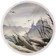 Pacific Northwest Driftwood Shore Round Beach Towel by James Williamson