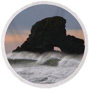 Pacific Northwest Waves Round Beach Towel