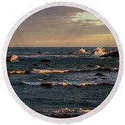 Pacific Ocean After The Storm Round Beach Towel