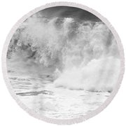 Pacific Ocean Breakers Black And White Round Beach Towel
