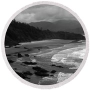 Pacific Ocean Moody Scenic Round Beach Towel