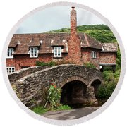 Packhorse Bridge At Allerford Round Beach Towel