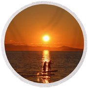 Paddle Boarders Round Beach Towel