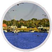 Paddle Boarders Vs Birds Round Beach Towel