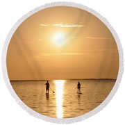 Paddle Boarding Out Of The Sunset Round Beach Towel